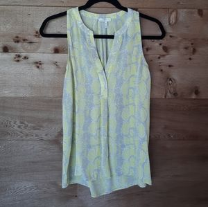 Joie Yellow and Grey Snake Print Silk Top XSmall